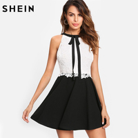 SHEIN Elegant Party Dress Contrast Lace Tied Neck Fitted And Flared Dress Black And White Sleeveless