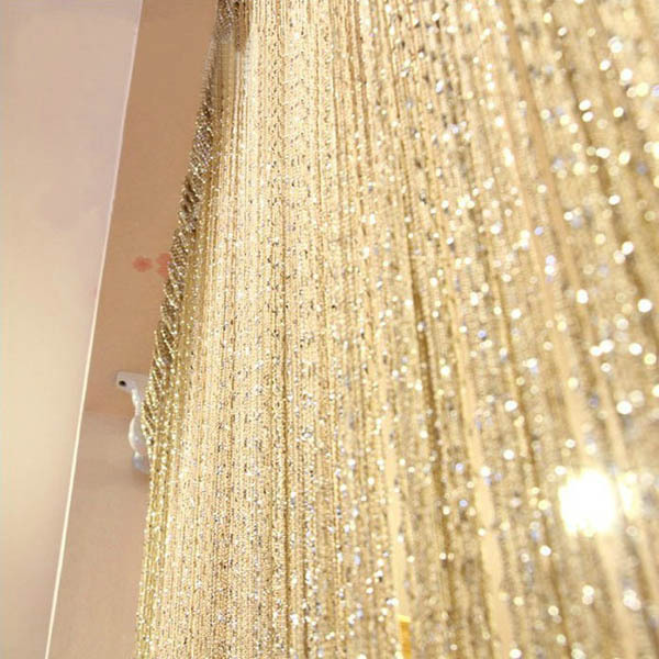 New Tassel Silver Silk String Curtain Window Door Divider Sheer Curtains Valance