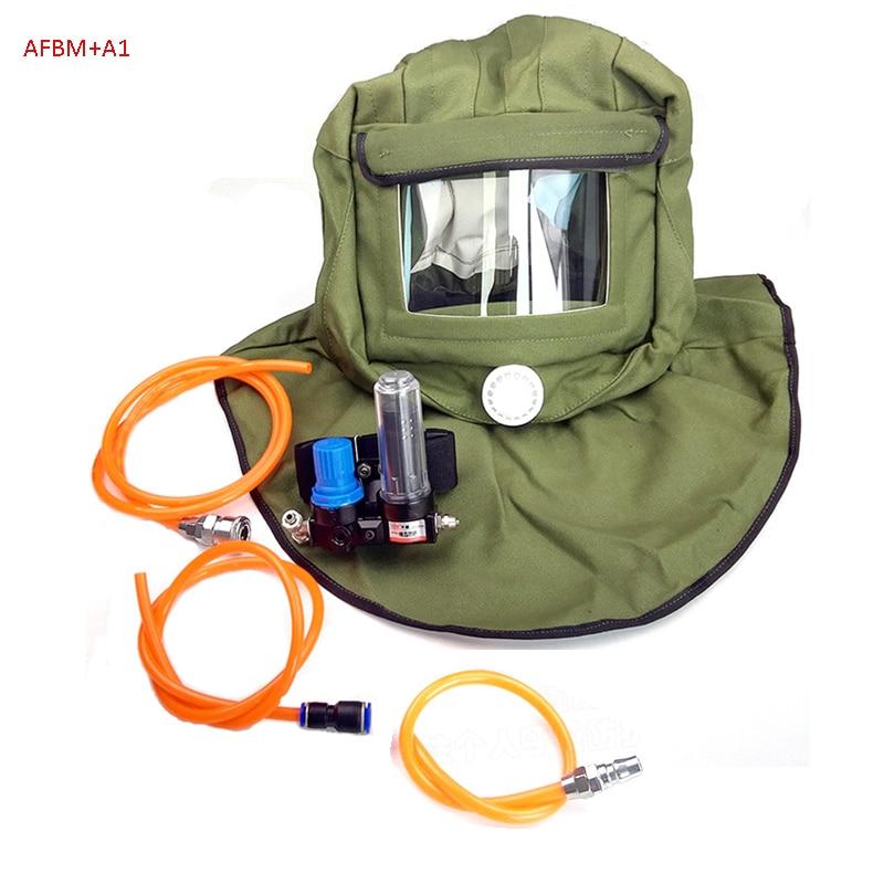 AFBM Shawl Dust Cap Type Air Fed Helmet Breathing Mask for Spray Paint,Chemical Chemistry, Polishing, Dust Prevention