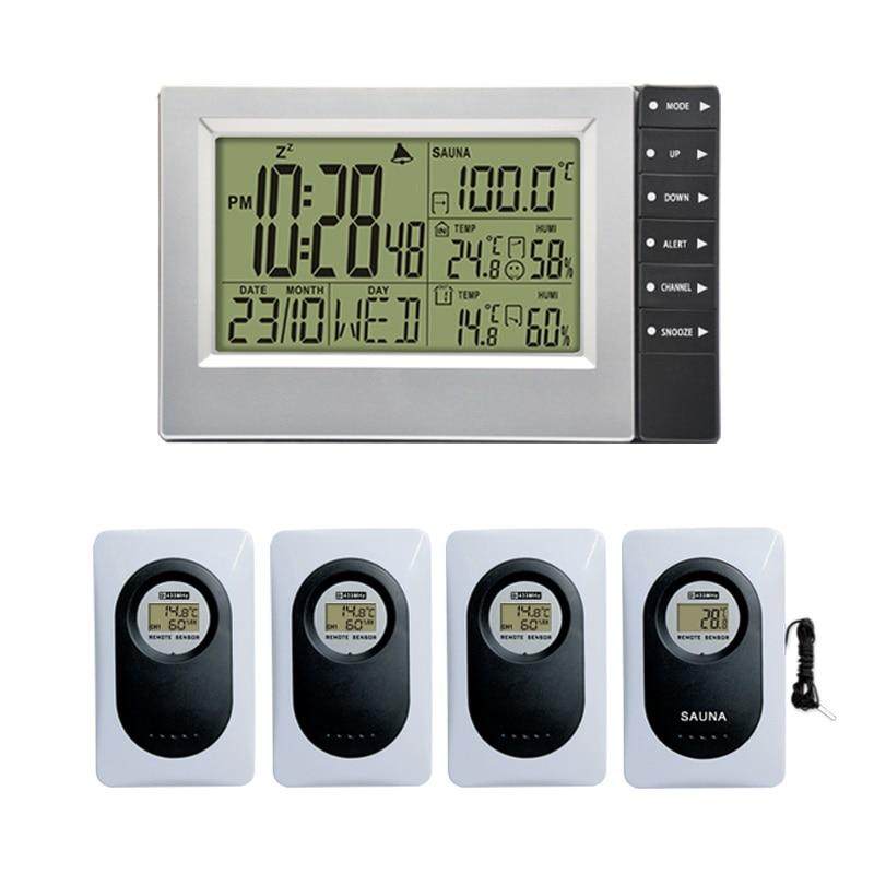 Wireless Weather Station Digital Display Alarm Clock Sauna Temperature Indoor Outdoor Thermometer Hygrometer most up 4 Sensors