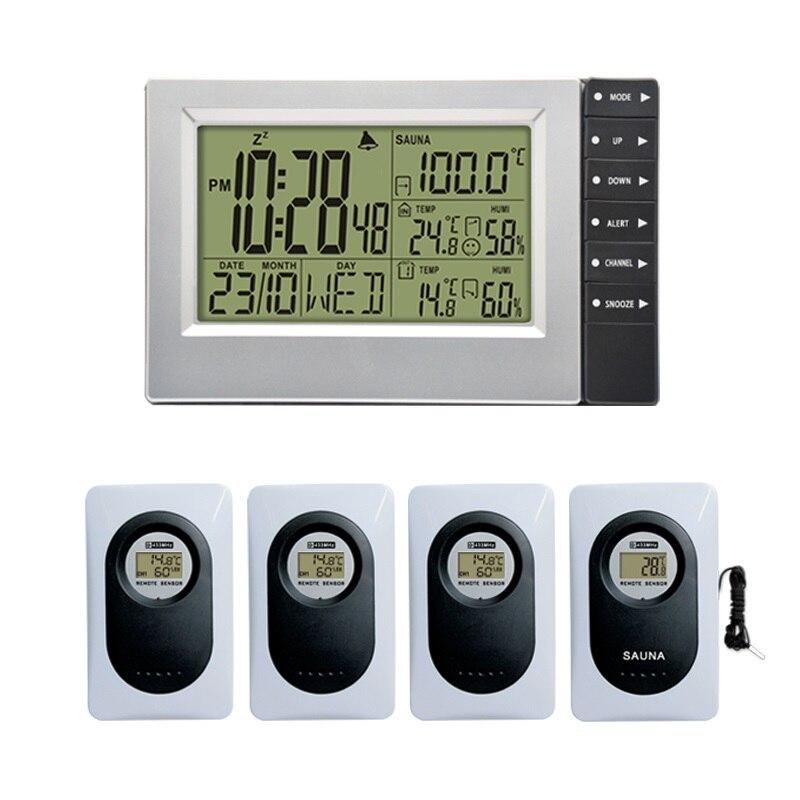 Sem fio Estação Meteorológica Display Digital Indoor Outdoor Termômetro Higrômetro Alarm Clock Temperatura Sauna mais up 4 Sensores