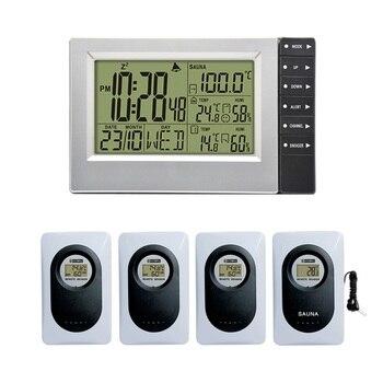 Wireless Weather Station Digital Display Alarm Clock Sauna Suhu Indoor Outdoor Thermometer Hygrometer Paling Up 4 Sensor