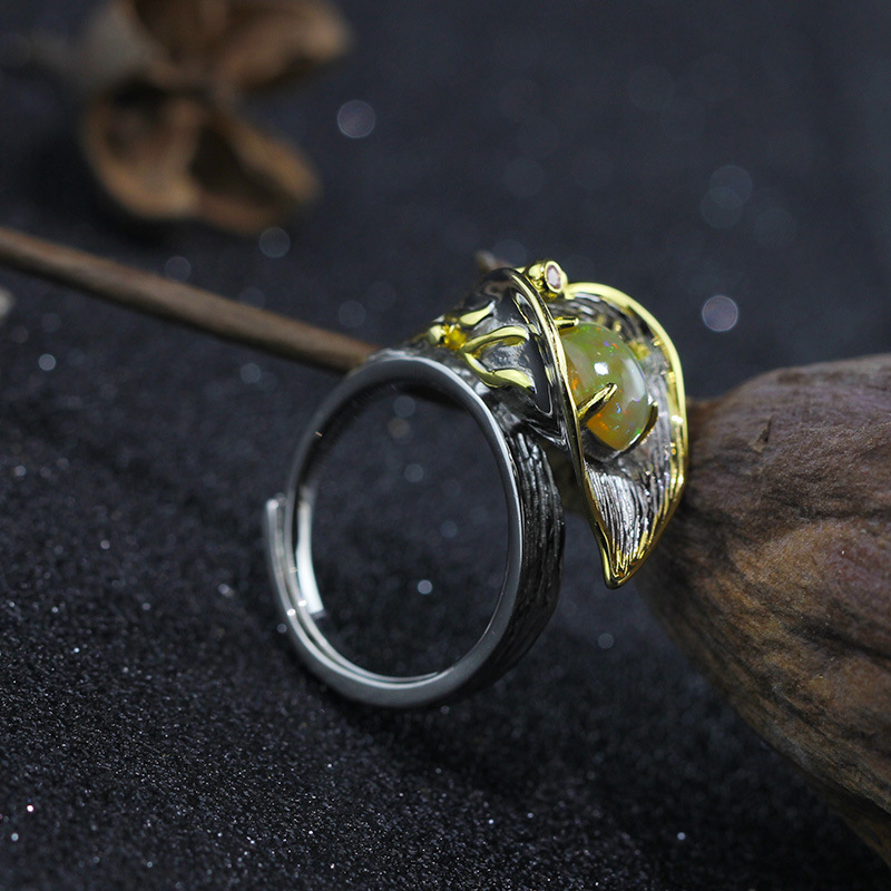 Gemstone Women's Ring 100% 925 Sterling Silver Ring Exquisite Thai Silve Handmade Natural Opal & CZ Ring For Women Lady Gife exquisite gemstone embellished vivid alloy finger ring for women