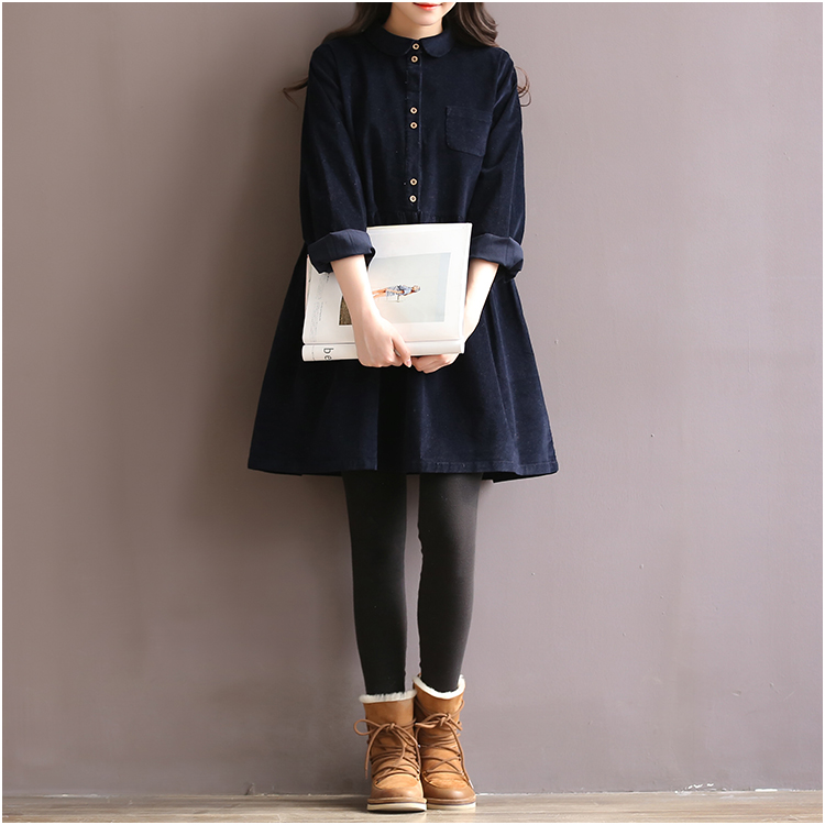 Japán koreai stílus főiskolai iskola Corduroy zöld ruha hölgy hosszú ujjú édes retro 2018 divat ruha női téli Midi