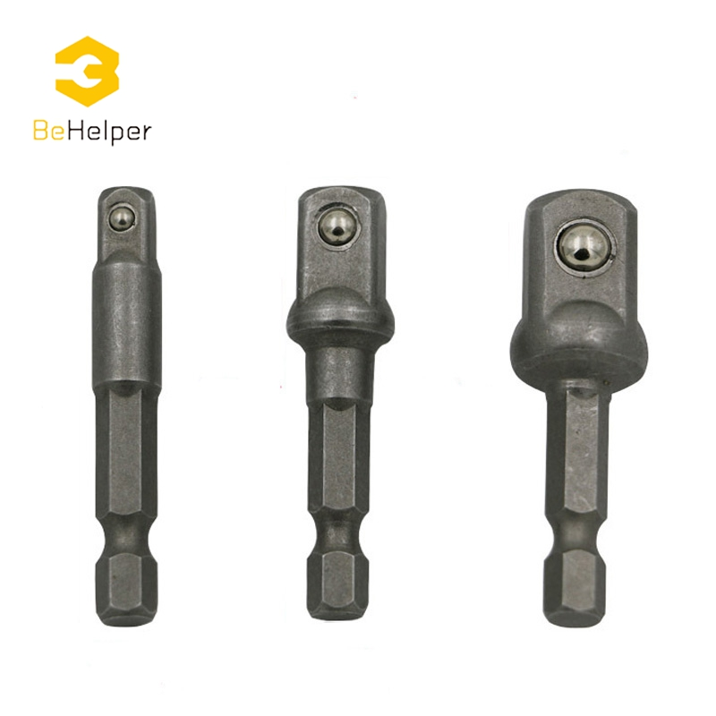 BeHelper 3 Pcs Wrench Socket Adapter Set ,Hex Shank to 1/4 3/8 1/2 Drill Bit Extension Bar Socket Connection Rod Power Tools 3pcs set wrench sleeve extension bar hex shank drive power drill bit socket driver adapter set 1 4 3 8 1 2 50mm
