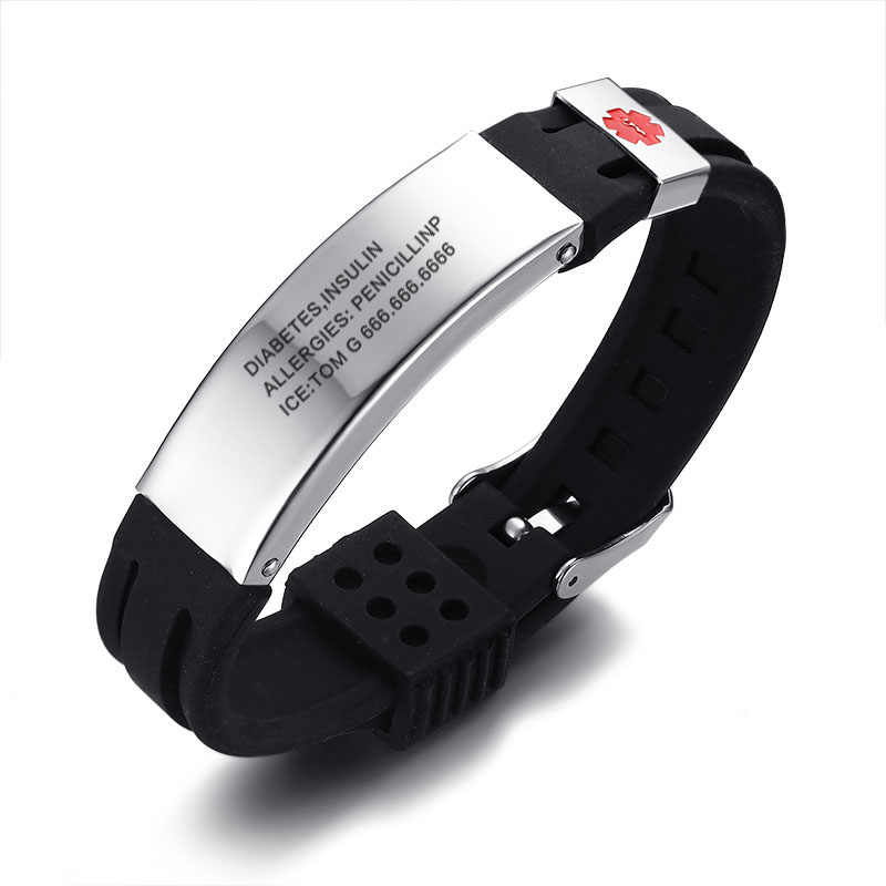 271c98a035f5 Free Engraving Medical Alert ID Silicone Stainless Steel Adjustable Bracelet