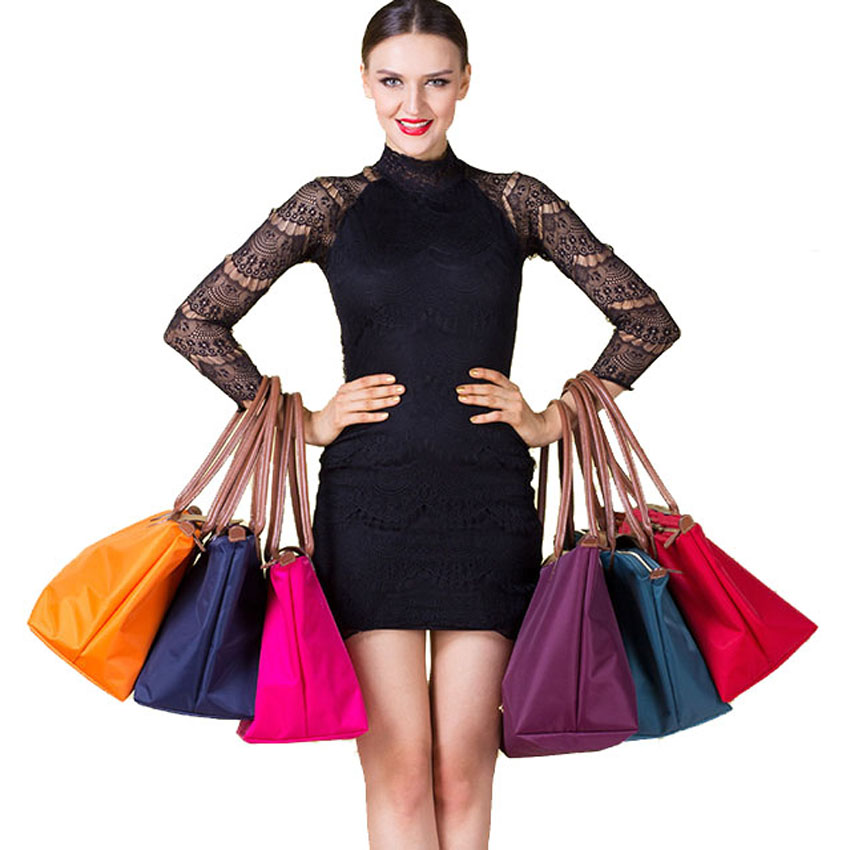 font b Women b font shoulder bags leather nylon fold bag messenger medium folding nylon