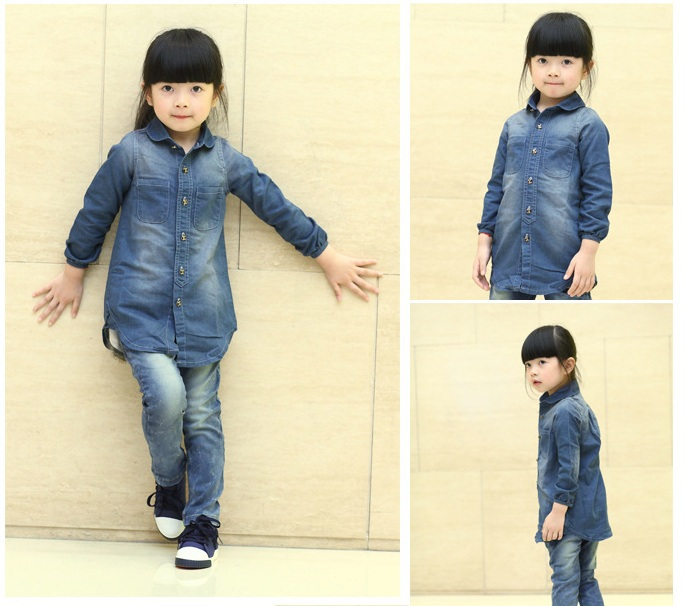 New autumn/spring children's clothing shirts for girls  jean jacket denim shirts casual children's dress kids's clothing