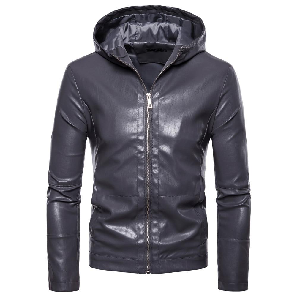 Мужская модная брендовая зимняя кожаная куртка с капюшоном, Мужская Новая индивидуальная модная кожаная куртка, приталенная, Европейский/а...