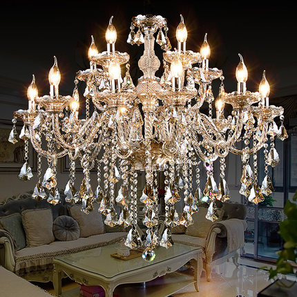 Crystal chandelier living room European style bedroom dining room lamp simple modern candle crystal lamp luxury hall lamp