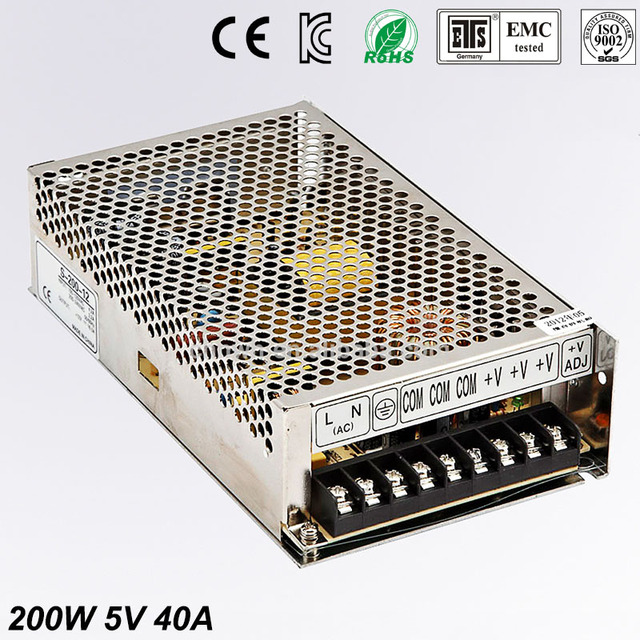 5V 40A 200W Switching Power Supply Driver for LED Strip AC 100-240V Input to DC 5V free shipping