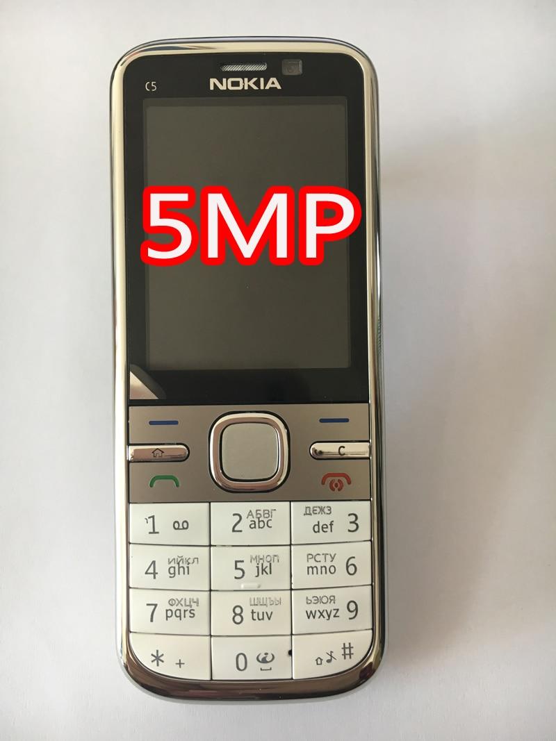 NOKIA C5-00 C5 мобильный телефон разблокированный иврит Арабский Русский Клавиатура Восстановленный мобильный телефон - Цвет: white 5MP