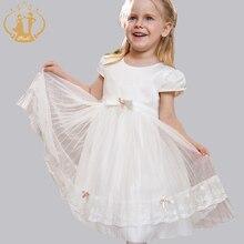 Nimble Princess Summer Baby Girls Princess Dress Handmade Beading Bow Draped Solid Lace Vestidos Party Wedding Girl Clothes