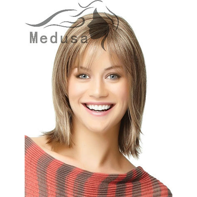 Celebrity Lady Wigs Medium Length Layered Wigs For Women Straight