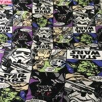 Largo 140 cm Cartoon Yoda Darth Vader Star War Stampa Tessuto A Maglia di Cotone Tessuto Tessuto Jersey Elasticizzato Cucito Fai Da Te abbigliamento