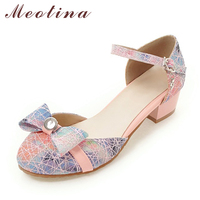 Meotina New Designer Women Shoes Plus Size 33 46 Ankle Strap Ladies Party Shoes Bow Casual
