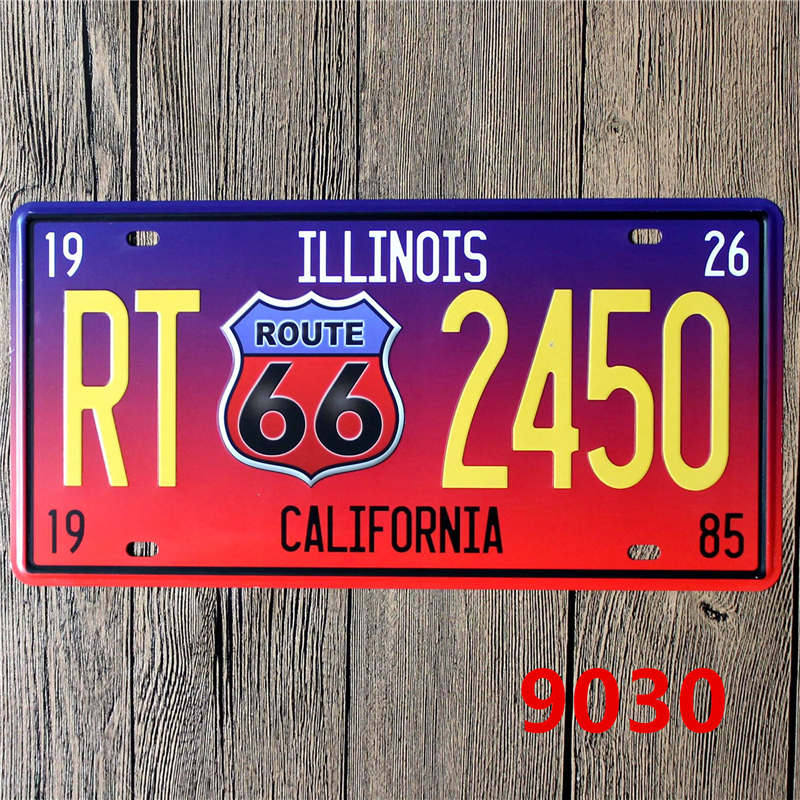 15*30 cm Route 66 Metal Sign Car Number License Plates Garage Signs ...