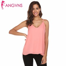 ANGVNS Halter Top Chiffon Tanks Camis Tops Sleeveless Women Sexy V-Neck Pullover Spaghetti Straps Camisole Tank Clothes Ladies