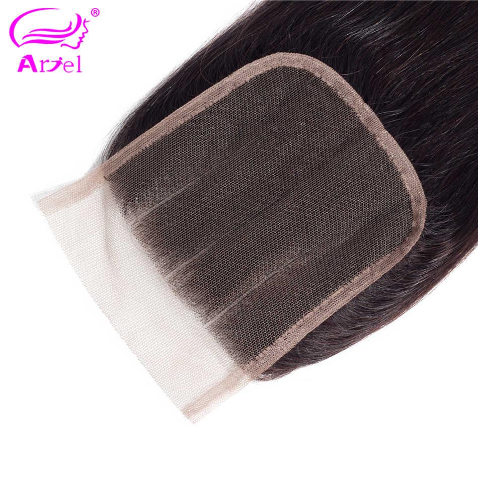 Ариэль 100% бразильские человеческие волосы прямые 4*4 Кружева закрытие натуральный цвет не завитые здоровые волосы Кружева Фронтальные закрытия средняя часть