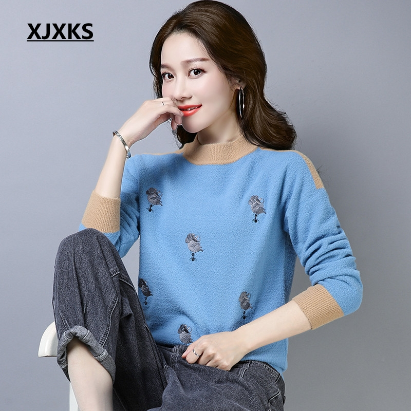 XJXKS Women Winter Clothes Pullover Sweater Color Patchwork Lovely Patterns  Kazak Bayan New High Quality Woman Sweaters -in Pullovers from Women s  Clothing ... 9a5127bf0
