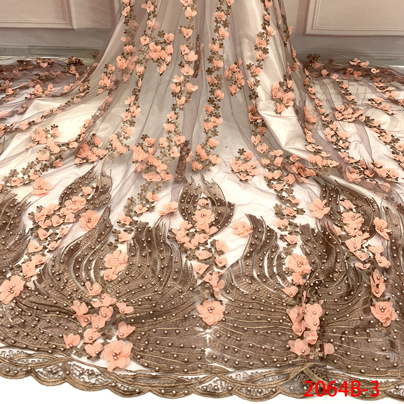 African Lace Fabric 2019 High Quality Beaded Lace 3D Flower Lace Fabric Beautiful Applique For Wedding Dresses KS2064B-3
