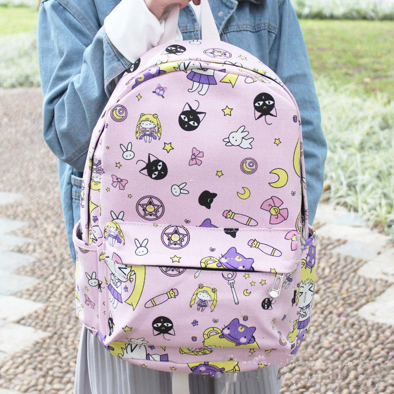 Anime Sailor Moon Canvas Girls Travel Schoolbag Backpack Student Shoulder Bag