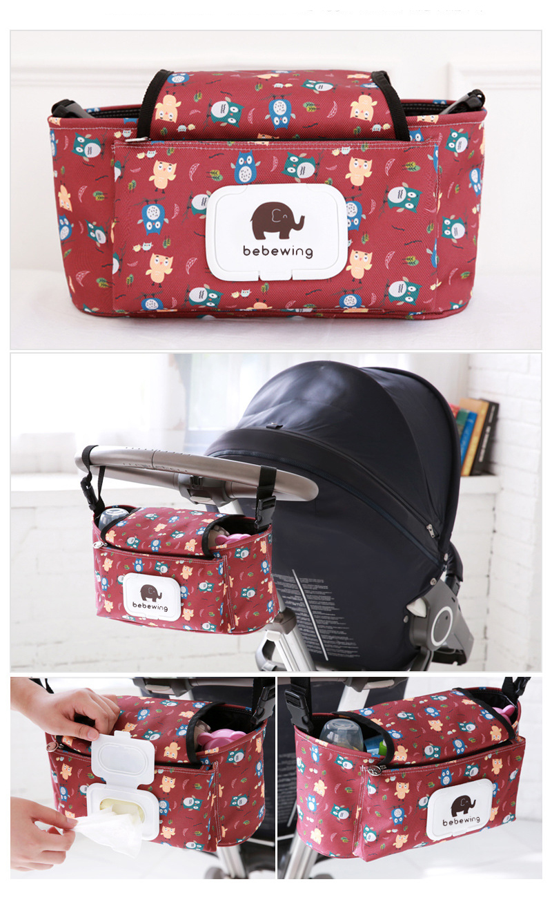 Baby Stroller Organizer Bag with Tissue Pocket and Cup Holders Extra-Large Storage Space Baby Stroller Accessories Bag Nappy Bag