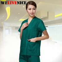 Professional Hospital Uniform Surgical Suit V neck Nurse Doctors Women Scrub Sets With Pants #6219