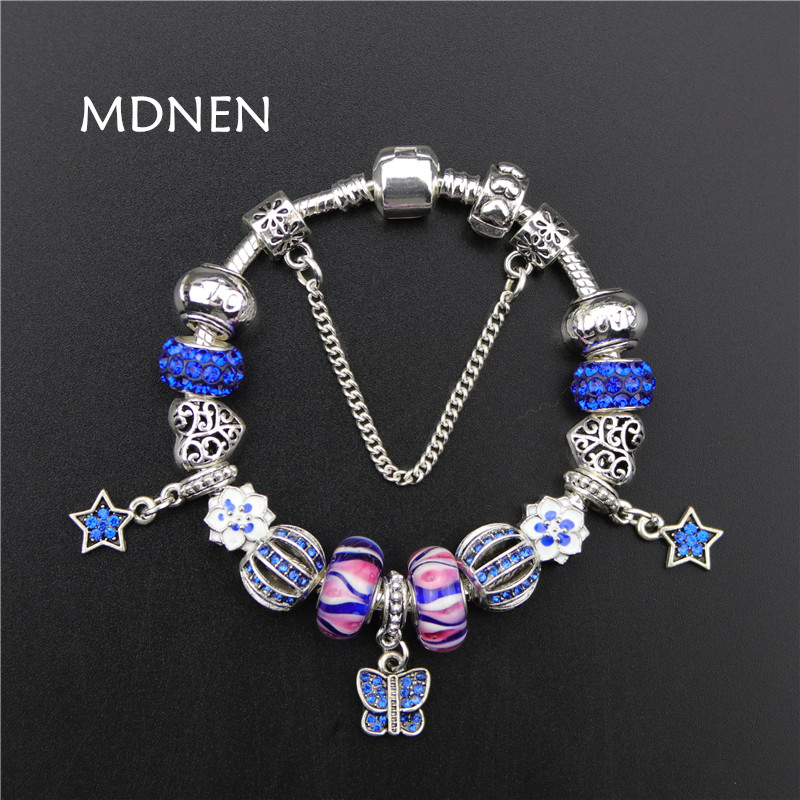 Blue Crystal Beads Vintage Silver plated Butterfly starst Pendant Charm Pandora Bracelets&Bangles For Women Fashion Gift BYBR026