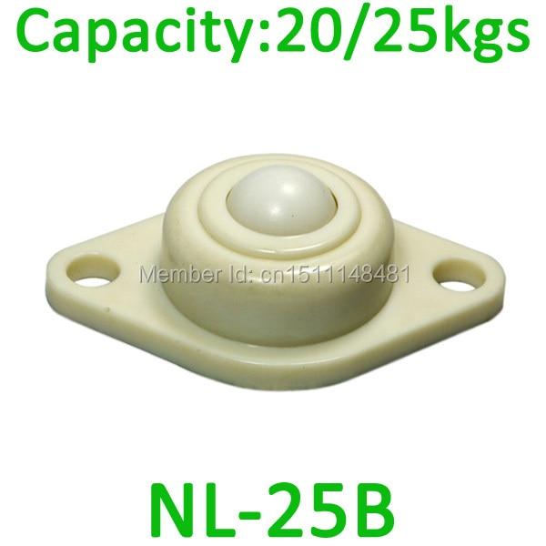 Free Shipping 5pcs POM NL25B 25kgs load capacity Nylon Ball transfer Caster NL-25B ABS full plastic ball and body transfer unit