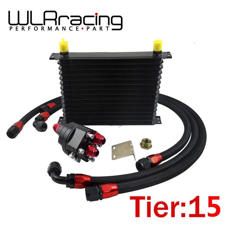 WLR RACING - Universal 15 Row 10AN Aluminum Engine Transmission Oil Cooler Relocation Kit wlring store universal 16 row an10 engine transmiss oil cooler kit filter relocation blue