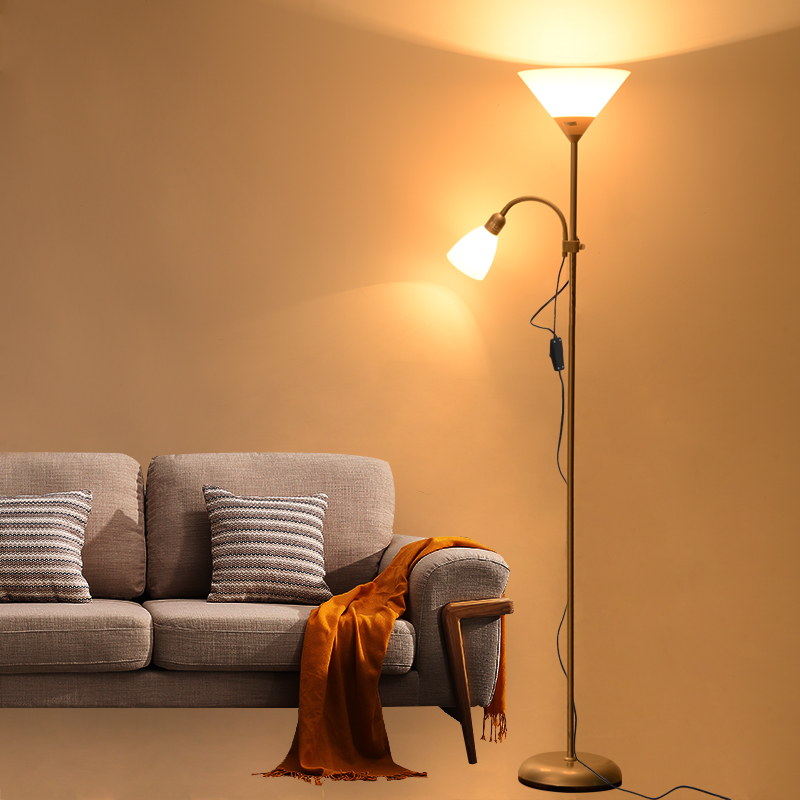 Купить с кэшбэком Modern nordic design 2 lights night Floor Lamp stand Living Room adjustable Hotel Lighting E27 LED AC 110V 220V For Bedroom home