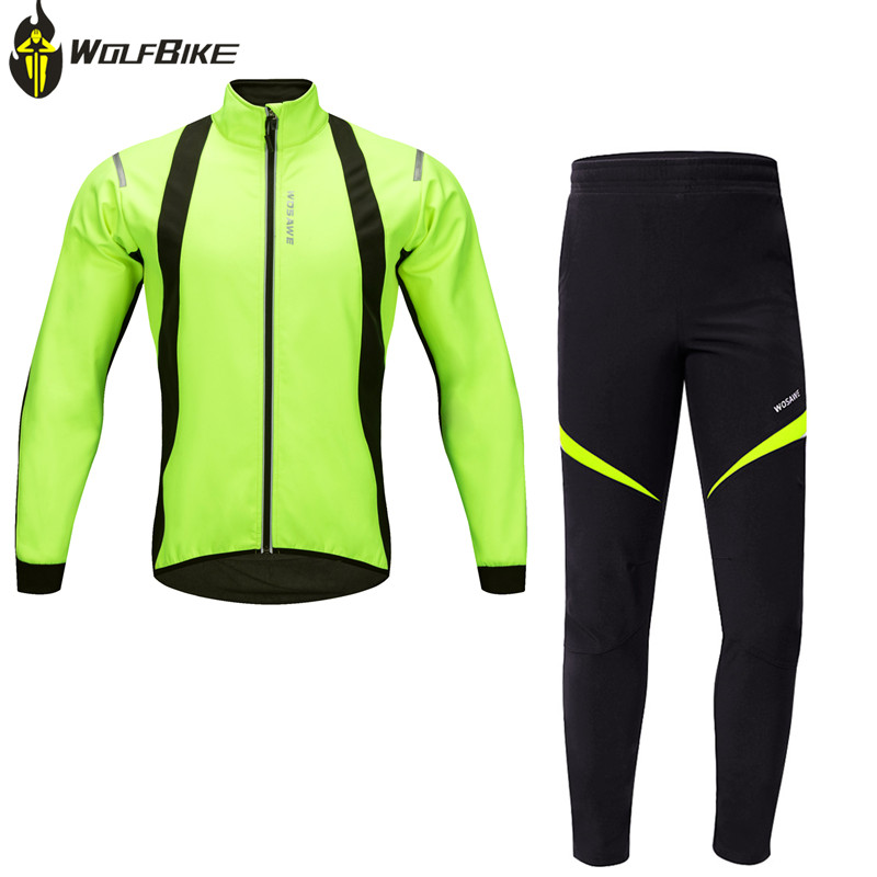 цена на WOSAWE Winter Thermal fleece cycling jacket sets bicycle warm mountain bike clothing racing bike suits kit