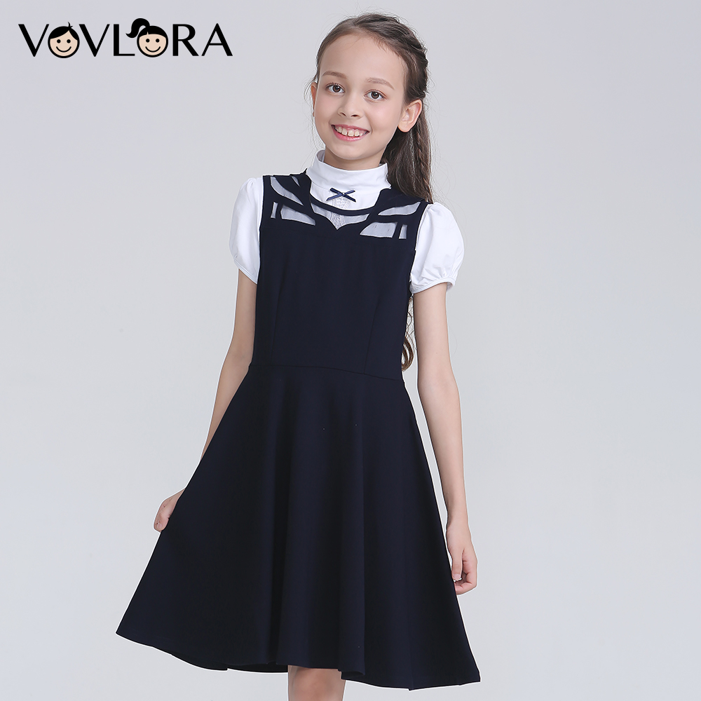 Sleeveless Patchwork Casual School Dresses For Girls A Line Lace Hollow Out Kids Dress School Uniform Size 9 10 11 12 13 14 Year lace patchwork hollow out shirt