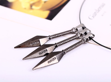 HSIC Dropshipping 12pcs/lot Cosplay Accessories Jewelry Christmas Gift Anime Naruto Metal Necklace Kunai Pendant for Men Women