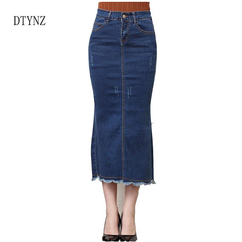 2018 été printemps Denim jupe taille haute femmes Jeans mode longue jupe une ligne Sexy Split crayon