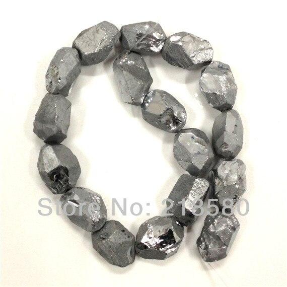 H-TB42 Silver Titanium Quartz Beads, Green Cystal Nugget Beads, Silver Quartz Beads, Rock Crystal Beads