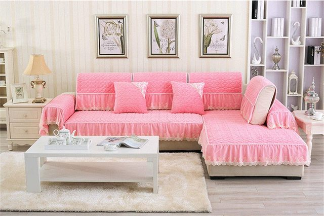 Online Shop Short Plush Europe Sectional Sofa Cover Flocked Clover ...