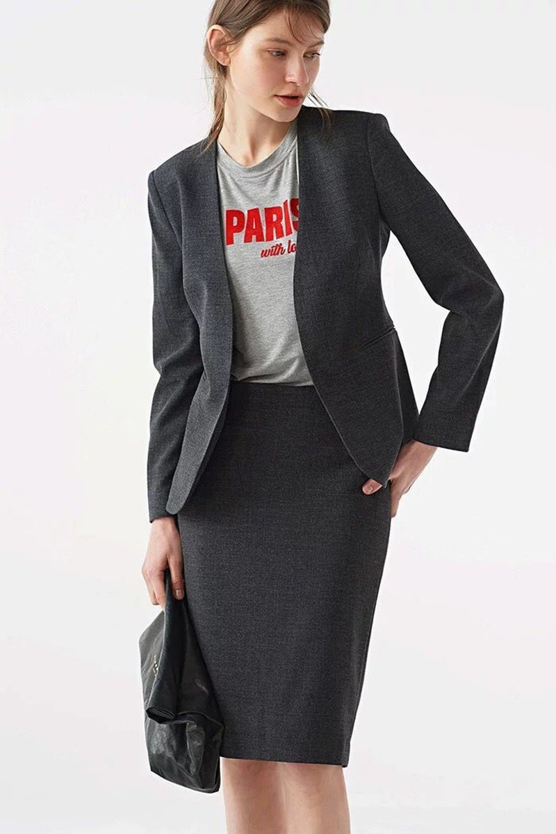 2019 New Women Wool Suit Short Coat Top and Skirt and Pants Set For Office Lady