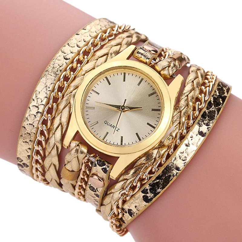 2017 Geneva Quartz Watch Clock Women Luxury Brand JW Antique Bracelet watches For Women's Woven Leopard Gold Wristwatches xfcs 2017 new brand jw quartz watch women luxury gold