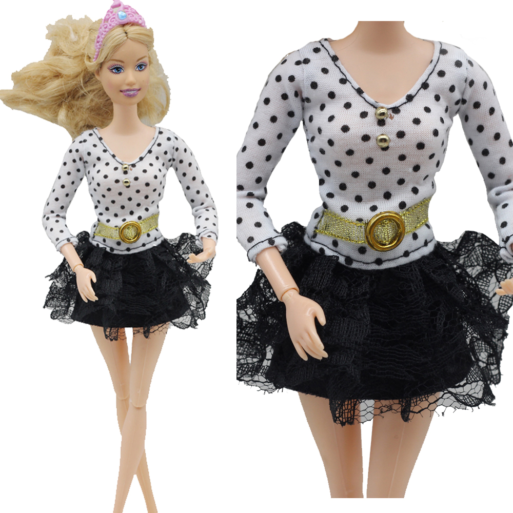 1Set Newest Lace Doll Dress Beautiful Handmade Party ClothesTop Fashion Dress For Barbie Noble Doll Best
