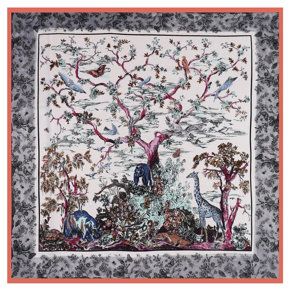Luxury Brand Scarf 130cm New Design Zoo Twill 100% Silk Scarf Women Square Scarves Kerchief For Ladies Fashion Shawl Echarpe