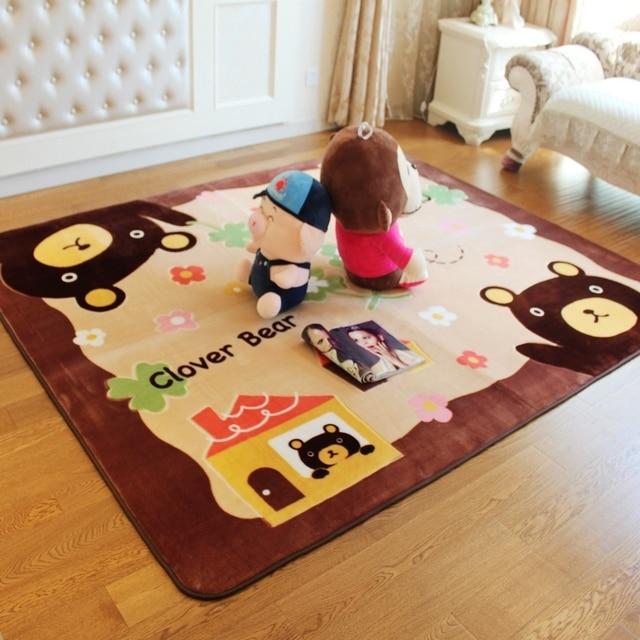 cartoon brown bear baby room carpet play mat soft baby crawling mats living room bedroom floor - Floor Mats For Living Room