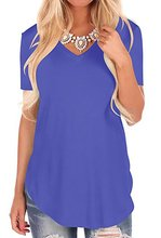 цены на New Summer Fashion Female T-shirt Short Sleeve V-Neck Tees Package Hip Shirt Plus Size Women T-Shirts Plus Size Spring Tops 3XL  в интернет-магазинах