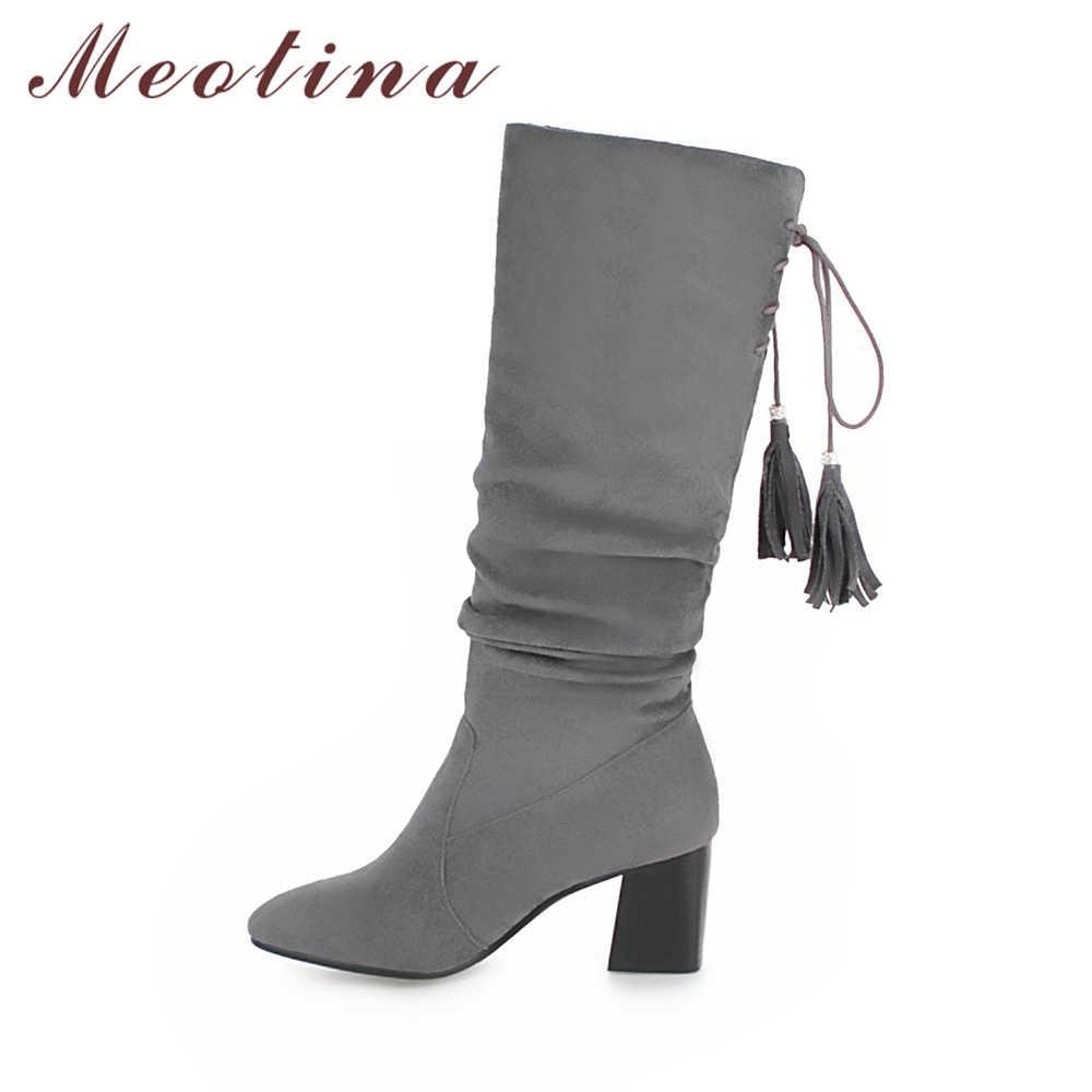 Meotina ฤดูหนาวสตรีเข่าสูงรองเท้าแฟชั่นส้นหนา Fringe Western Lace Up Lady ยาวรองเท้าสีน้ำตาลสีดำ 34-43