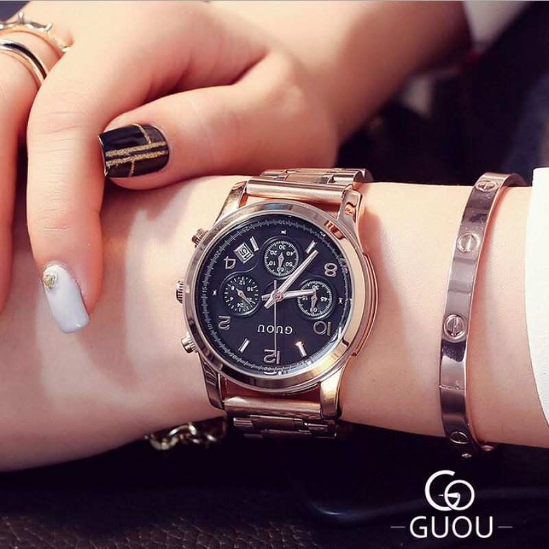GUOU Watch Women Luxury Rose Gold Ladies Watch Auto Date Full Steel Quartz Watch Wristwatch fashion reloj mujer relogio feminino sinobi rose gold luxury wrist watch clock women reloj mujer ladies quartz watch women waterproof relogio feminino 2017 with date