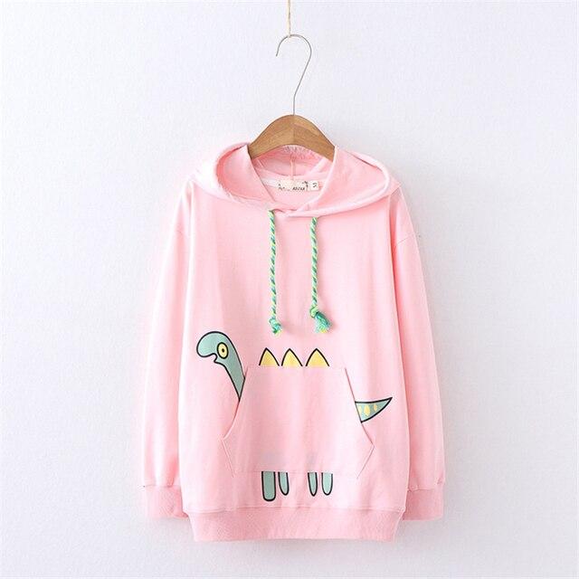Merry Pretty Women Dinosaur Pockets Hooded Sweatshirts Autumn Winter Long Sleeve Pullovers Harajuku kawaii Women s Hoodies