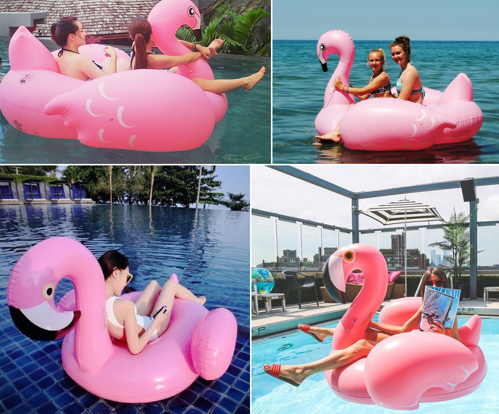 Giant inflatable swimming ring flamingo pool float ride on for Huge inflatable swimming pool