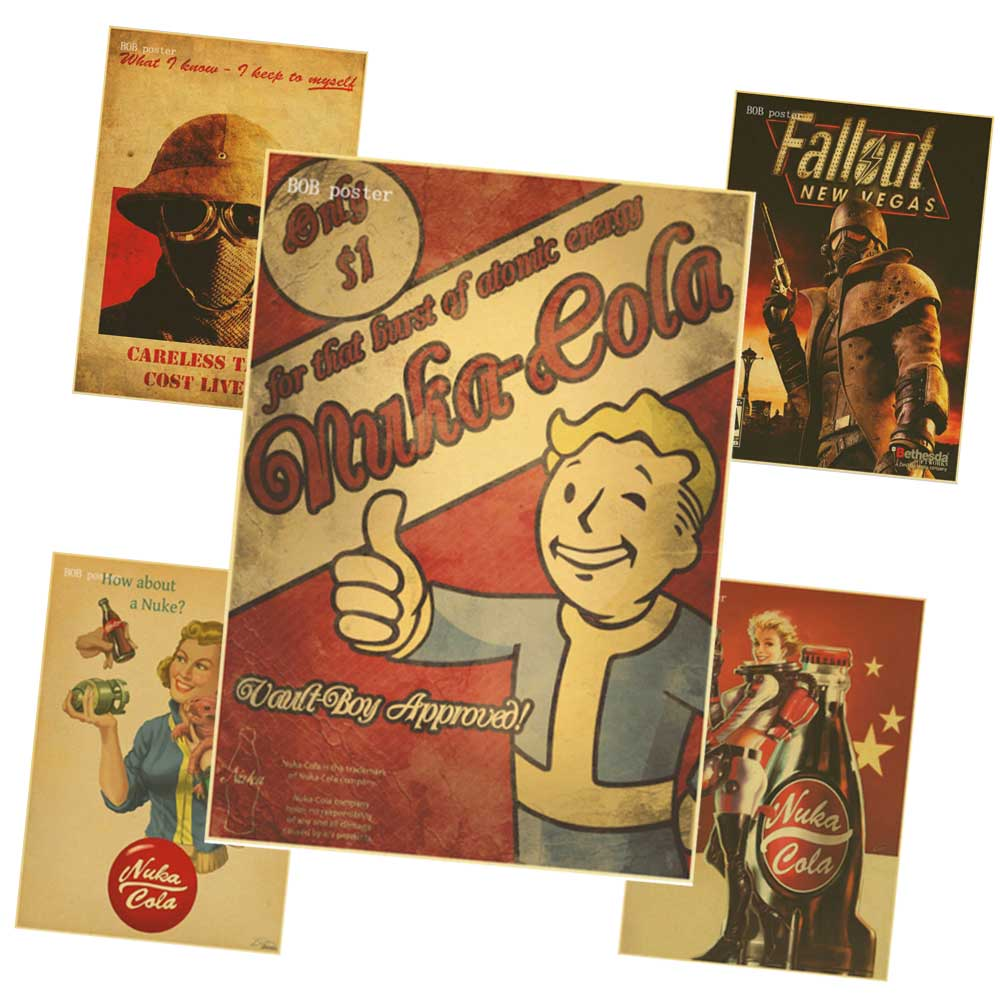 Vintage Posters Rock Fallout Game Anime Wall Home Decoration Retro Poster wall decor vintage prints Стёганое полотно