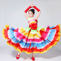 Flamengo Colorful Petal Spanish Dress Girls Flamenco Costume Ballroom Dancing Dresses For Kids Stage Performance Wear DN3035 0